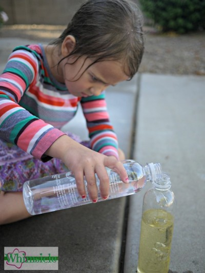 One of those perfect indoor activites that is also a super fun science experiment!  If your looking for rainy day ideas, this make your own lava lamp is perfects for children of all ages. All you need is food coloring, a water bottle, vegetable oil and baking soda.