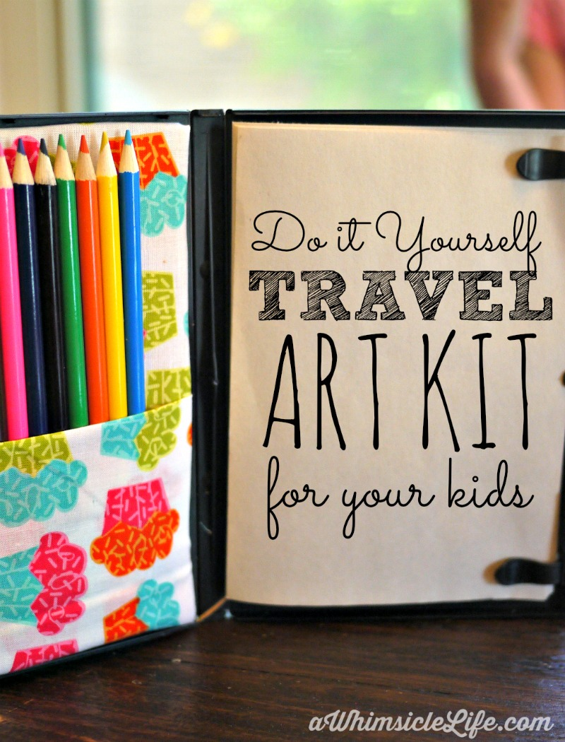 Pack this in your purse and your kids will be entertained easily during road trips or at restaurants. This coloring kit is super SIMPLE to make yourself and all you need is an old DVD case, fabric glue, a piece of cardboard and an exacto knife!