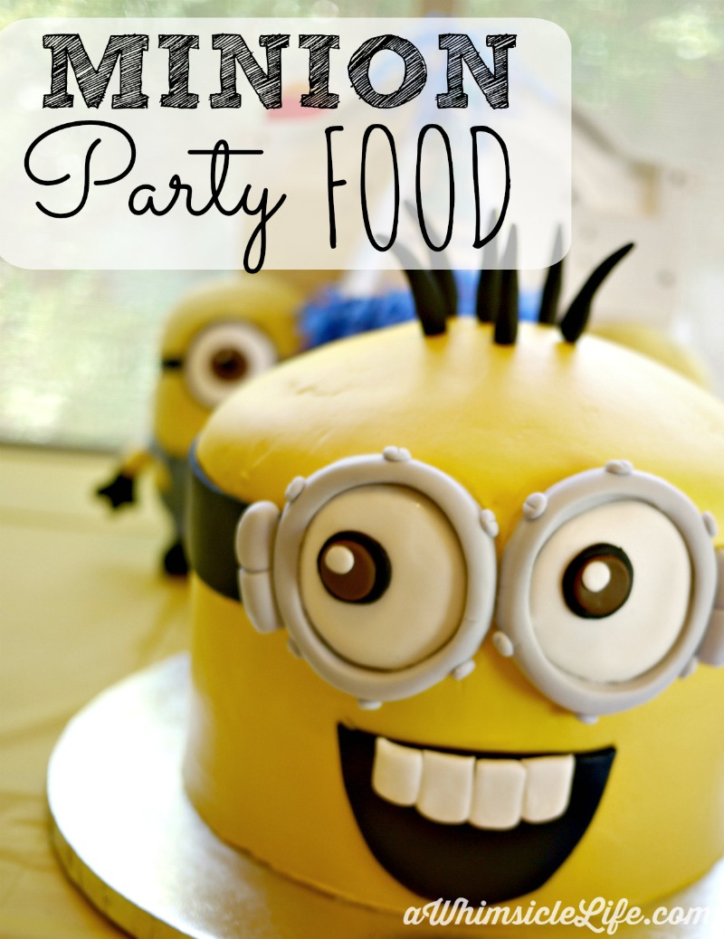 "Host a Minion Themed birthday party with this simple food party plan. Serve minion meatballs, ""cuke-y"" robots, Vector's Pizza Ring and Shrunken moons. Includes printable food cards for your table."