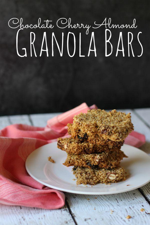 Cherry Chocolate Almond Granola Bars | Homemade Granola