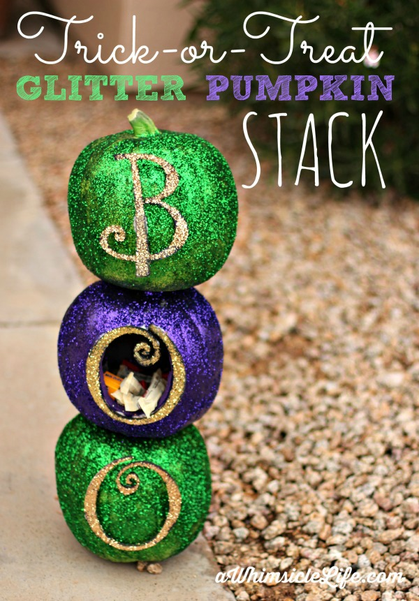 Trick-or-treat-Glitter-Pumpkin-Stack-with-candy