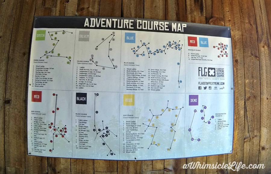 A map of all six courses at Flagstaff Extreme Adventure Course.