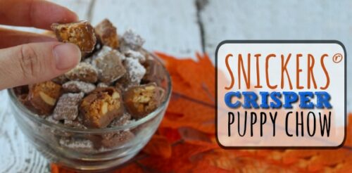 Perfect fall snack! SNICKERS® Crisper puppy chow makes a great football party food, sweet recipe or easy dessert.
