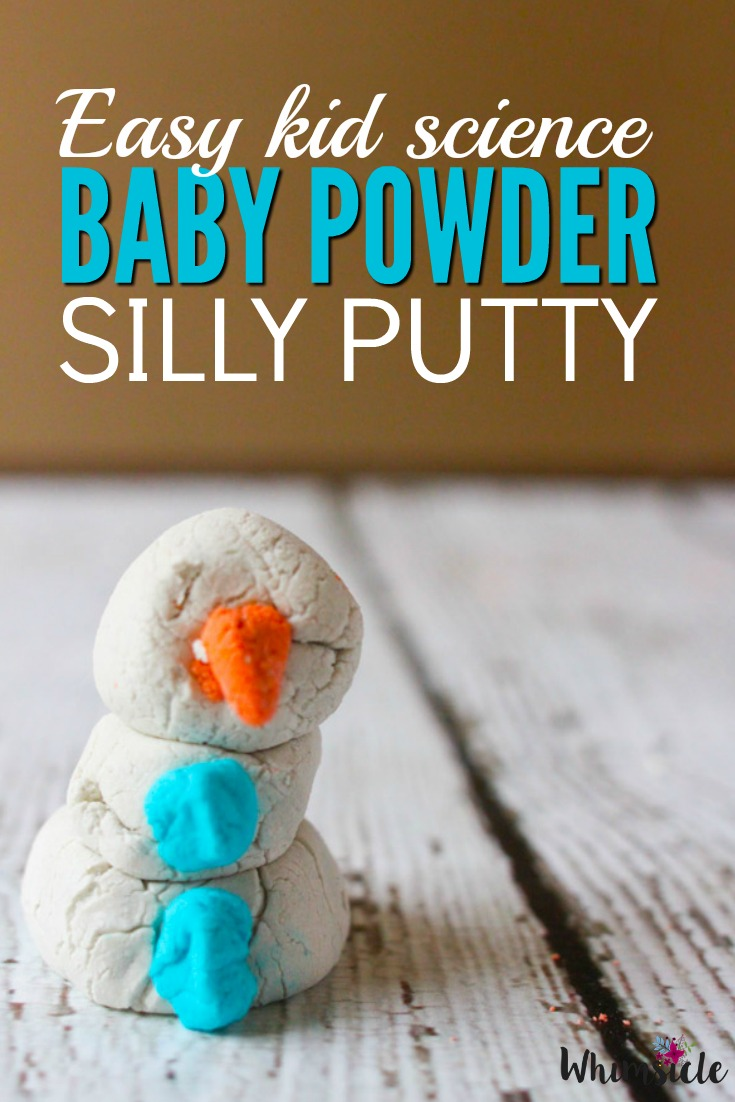 Fun silly putty activity that only needs two ingredients. I bet you didn't know you can make putty from baby powder!