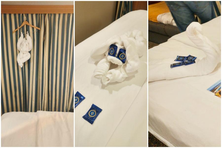 Towel animals on Disney Cruise