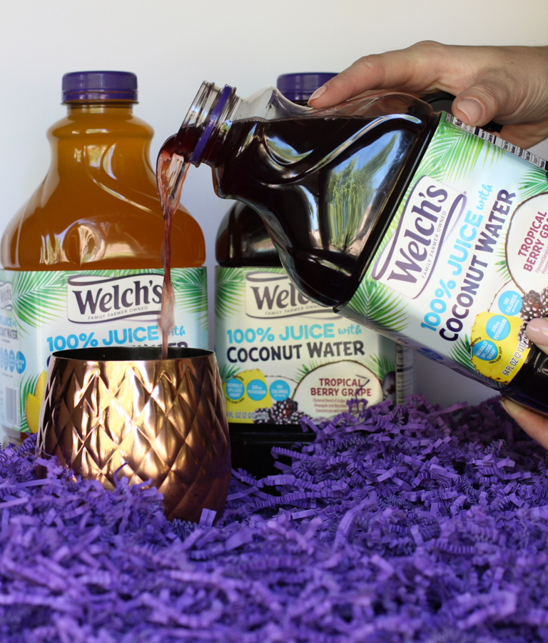 grape juice and coconut water