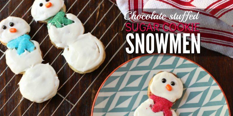 Chocolate Stuffed Sugar Cookie Snowmen