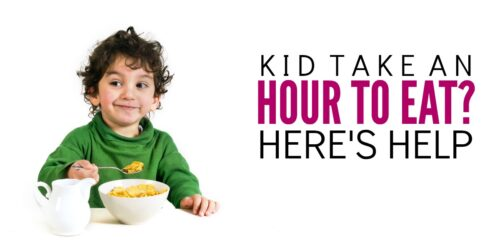 When you have a slow eater as a kid, it's hard to stay calm as a mom! This parenting discipline idea will help your slow eater speed up and help you calm down.