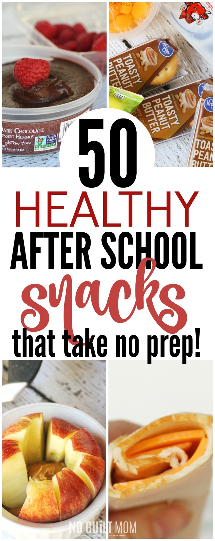 I so need quick and healthy after school snacks for my kids! These 50 ideas need no recipe. Also includes a free printable list of all 50 snacks. This makes afternoons so easy!