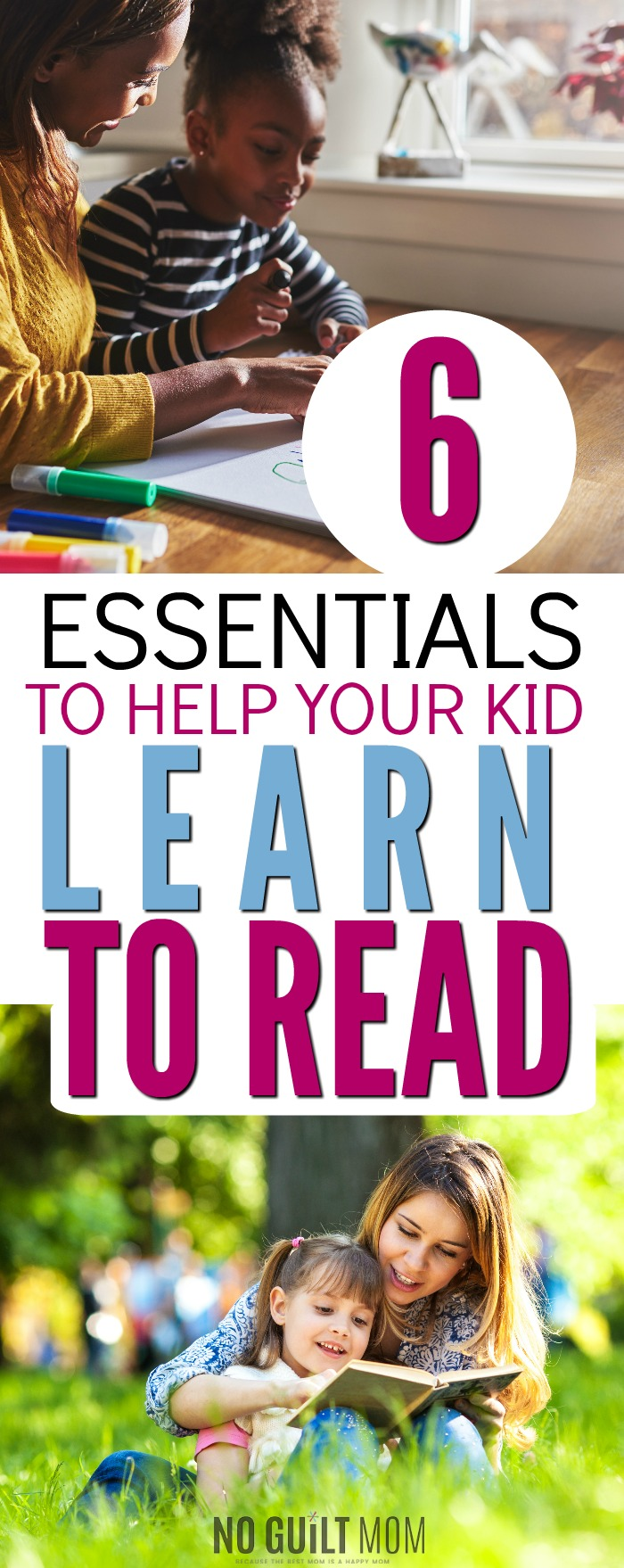 How do I help my child learn to read? These 6 simple ideas and activities require no prep and can be done practically anywhere. Great advice for parents of preschoolers and kindergarteners. If you've wondered how to get your kid to read, this is a must-try.