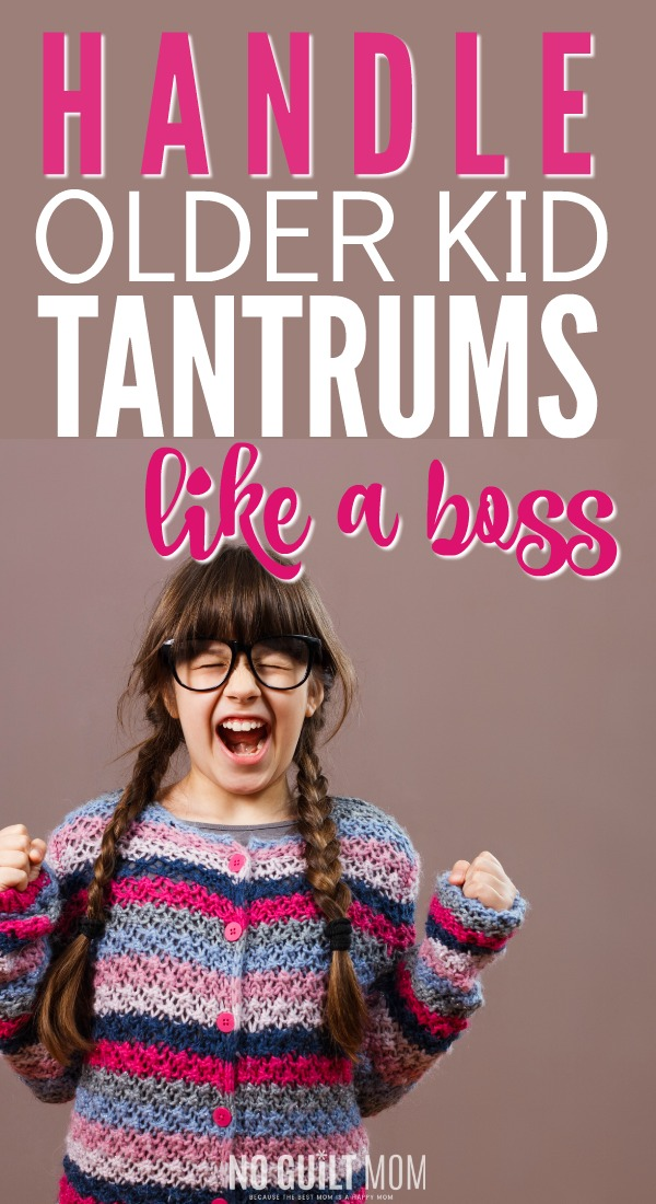 Whoa! Everyone talks about toddlers, but how do I handle tantrums in my older child? If you are done with whining, these tips will help you keep your temper cool! Great positive parenting advice for moms that also work for three-year olds, preschoolers and elementary school age kids.