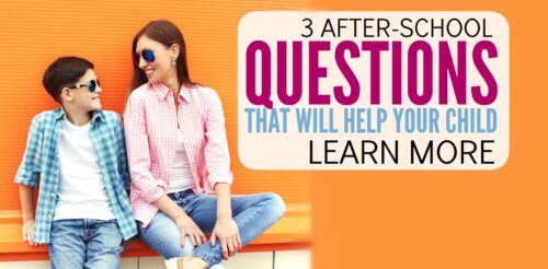 Whoa! I know it's good to ask my kids about their school day, but I always get brushed off. These 3 after-school questions are so simple and gave me so much information about their education. Excellent parenting advice on how to get kids talking and reconnect. These ideas work for preschoolers, grade-schoolers, middle-schoolers and high-schoolers.