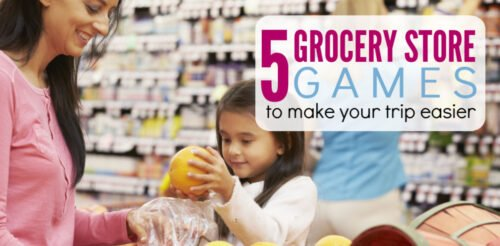 Dread going grocery shopping with your kids? These 5 game ideas are guaranteed to make your next trip easier and help with kid behavior. One of the best parenting tips and tricks to know. Comes with a free printable game.