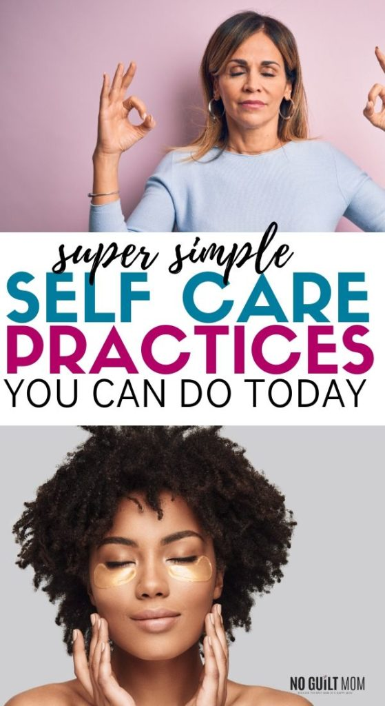 "Two women practicing self care with title ""Super simple self care practices you can do today"""